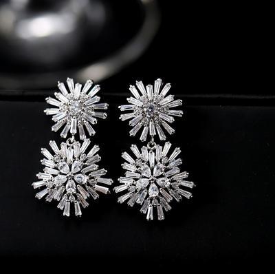 orecchini da donna in cristallo oro argento (3 * 2 cm) (woniu152)