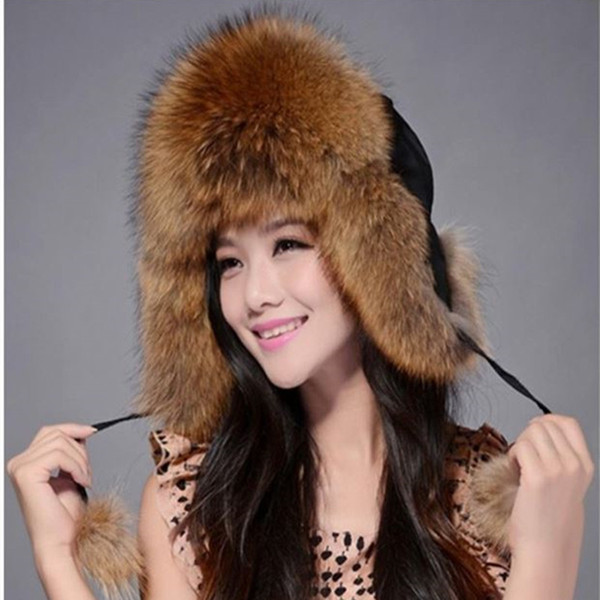 Wholesale- 2016 Best Christmas gift! New Arrival Fashion women genuine fur hat Russian warm leifeng fur Cap Free Shipping 6 Color