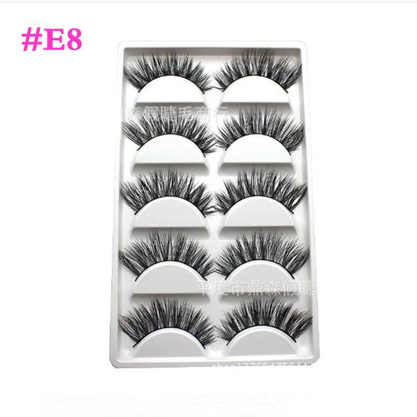 #Y-7#E8#E67 New 5Pair/box Handmade Thick Long False Eyelashes Mink Eyelash Natural Eye Lashes Makeup Product for Lady