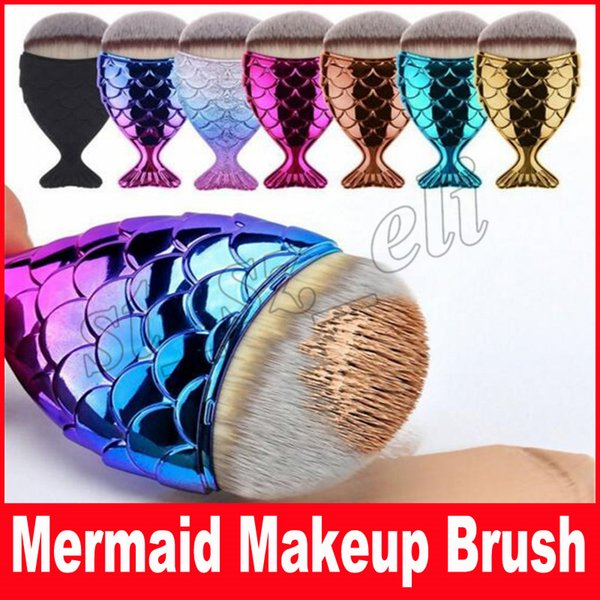 Mermaid oval fırçalar Mermaid Vakıf Fırça Altın Mermaid Makyaj Fırçalar Set Güzellik Kozmetik Allık Pudra mix renk