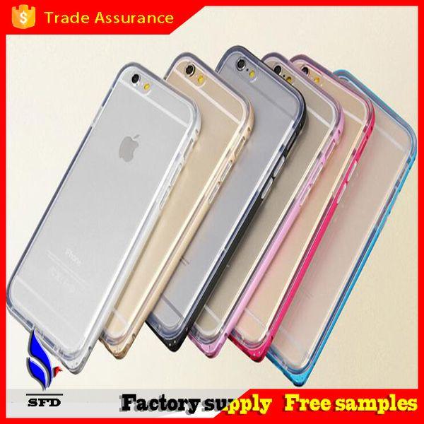Aluminium metal bumper case with Soft tpu cover case for Iphone 6 6+ Plus