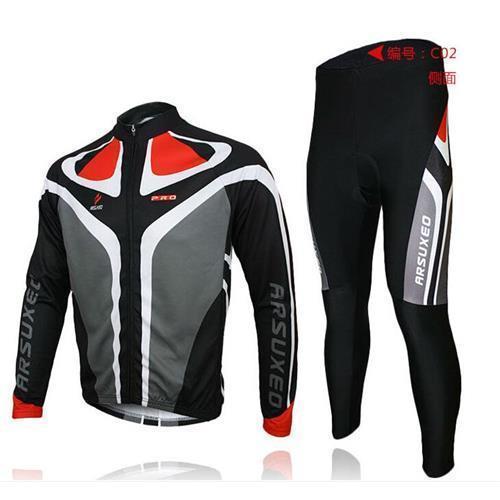 2015 Yeni arsuxeo erkek bisiklet bisiklet bisiklet uzun kollu jersey gömlek pantolon takım elbise üniforma üst giy .3D BIB PADDED C