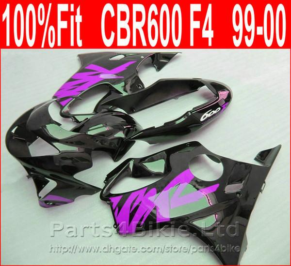 7Gifts Roxo preto Personalize carroçaria para carenagens Honda 99 00 CBR 600 F4 carenagem kit CBR600 F4 1999 2000 SOXT