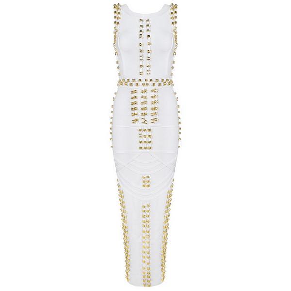 All'ingrosso-Top Quality nuovo arrivo bianco senza maniche con borchie perline lungo maxi rayon vestito dalla fasciatura vestito celebrità kim kardashian vestito