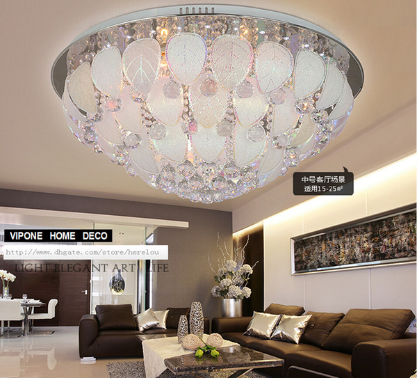 sale round crystal light ceiling creative bedroom. ceiling leaves petals. stainless steel ceiling.led modeling lights