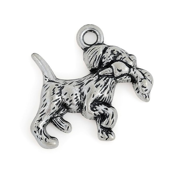 Retriever with Duck Charm Dogs & Pets 50pcs 20*19 mm single side antique silver