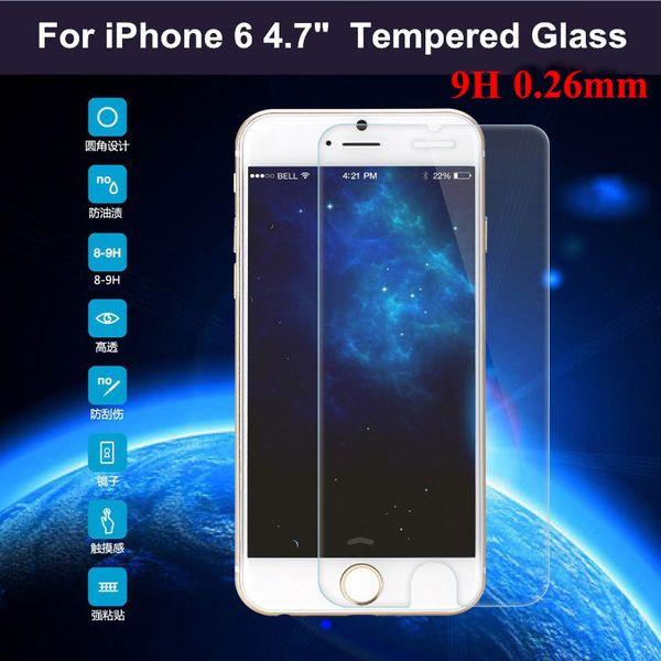 Para iphone 6 6 s prémio protetor de tela de vidro temperado 2.5d 9 h 0.26mm sem caixa de varejo 1000 pcs