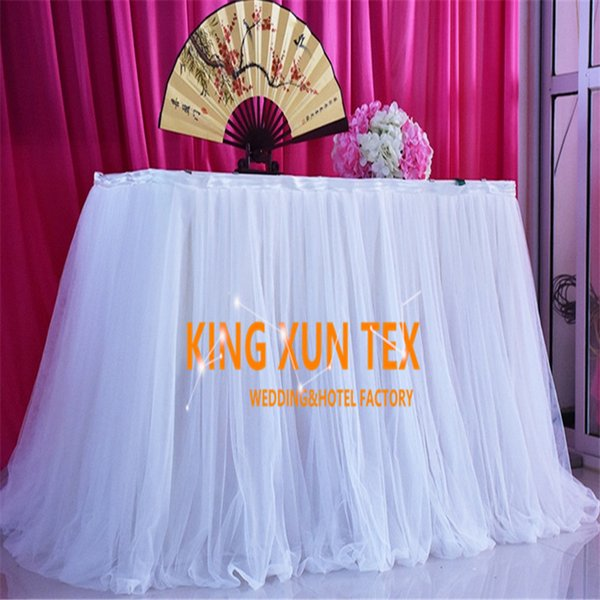 Wholesale Price Ice Silk Table Skirt Witht Tutu Fabric For Table Cloth Decoration \ Cheap Wedding Table Skirting Free Shipping