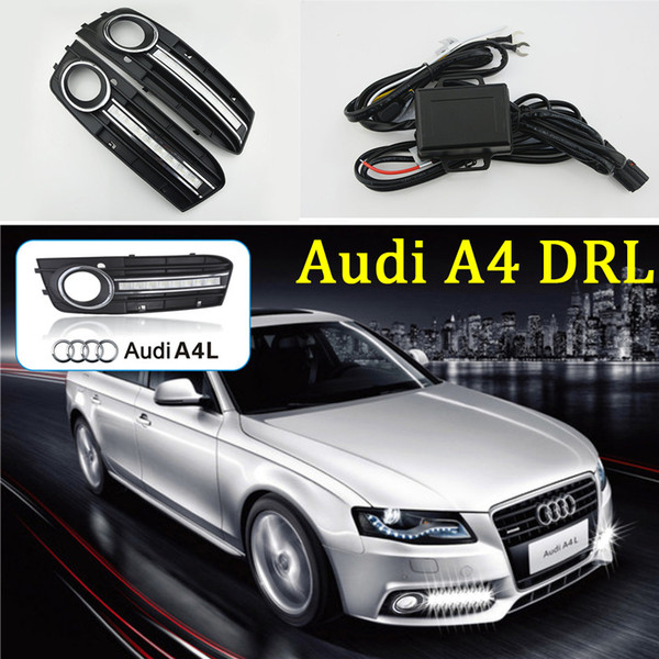 For Audi A4 B8 2009 2010 2011 2012 Auto Car Daytime Running Light With Head Led Drl Replace Fog Lamp Cover Led Day Running Lights Led Day Running