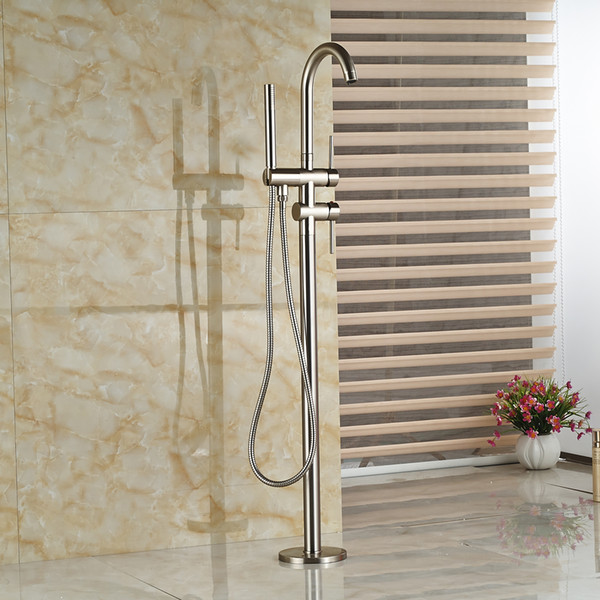 top popular Wholesale And Retail Solid Brass Brushed Nickel Bathroom Tub Faucet Free Standing Tub Filler W  Brass Hand Shower Sprayer 2021