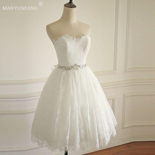Discount Short Bohemian Wedding Dresses Sweetheart Neck Lace Vintage ...