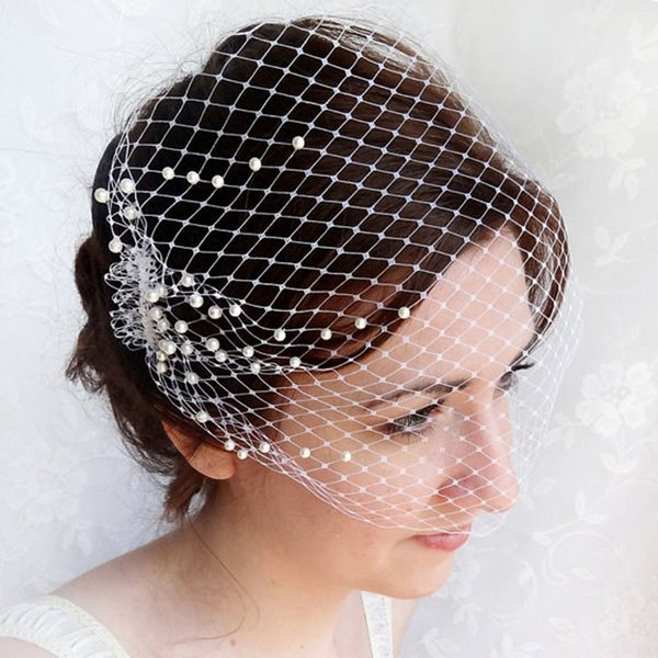 New Arrival 2015 White Ivory Birdcage Veils Netting Cut Edge With Pearls Wedding Veils For Bridal EN7072