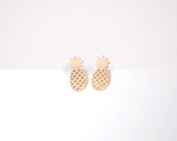 Moda ananas damızlık küpe, kişilik meyve saplama küpe el donuk yüzey saplama küpe toptan ücretsiz kargo