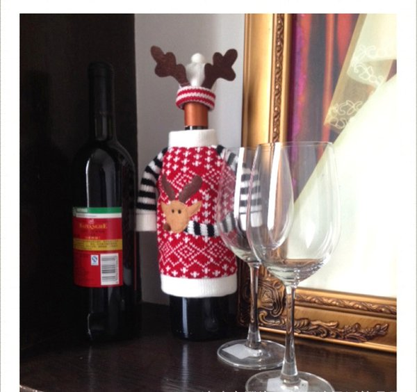 Christmas Deer Style Knitting Wool Red Wine Bottle Covers Necessary