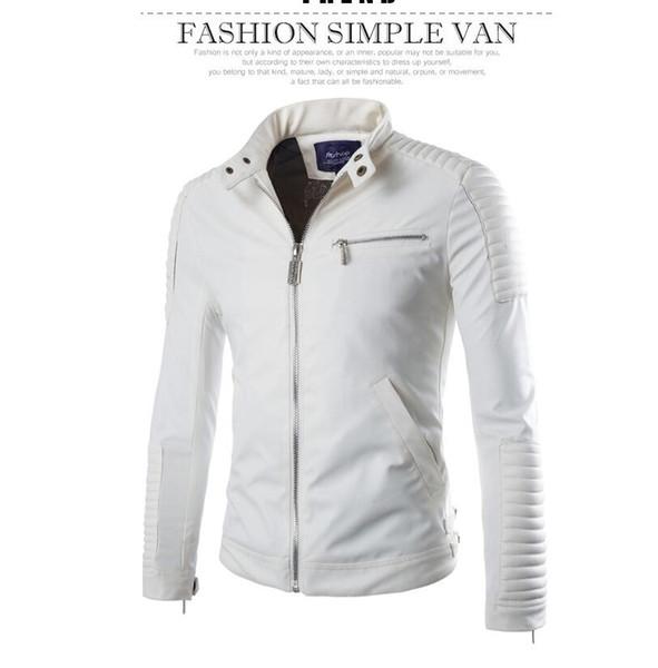 Toptan-Avrupa StyleFashion Kış Fermuar Motosiklet Deri Ceketler Erkekler Dış Giyim Casual Slim Katı PU erkek Ceket Kaban 3 Renk M-XXL