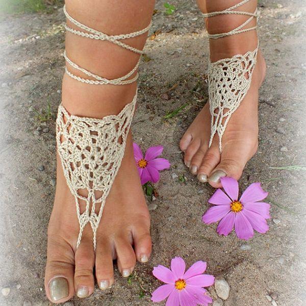Zapatos de encaje descalzo sexy de ganchillo a mano en color Beige hechos de zapatos de hilo de algodón puro, Boda en la playa, zapatos de verano