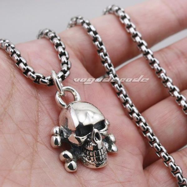 Skull Cross Bone 925 Sterling Silver Mens Biker Rocker Punk Pendant 8C010(Necklace 24inch)