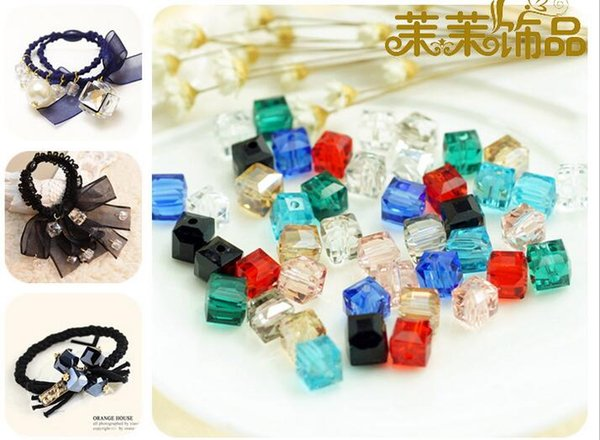 50pcs 8mm Square Crystal Glass Diamonds Beads For Scrapbooking Craft DIY Hair Clip Fashion Accessories