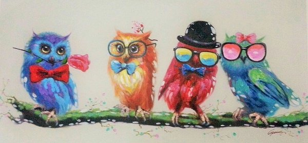 Decorative Canvas Oil Painting Canvas Beautiful Cute Night Owl Wall Art Modern Animal Art Picture Home Decor No Frame