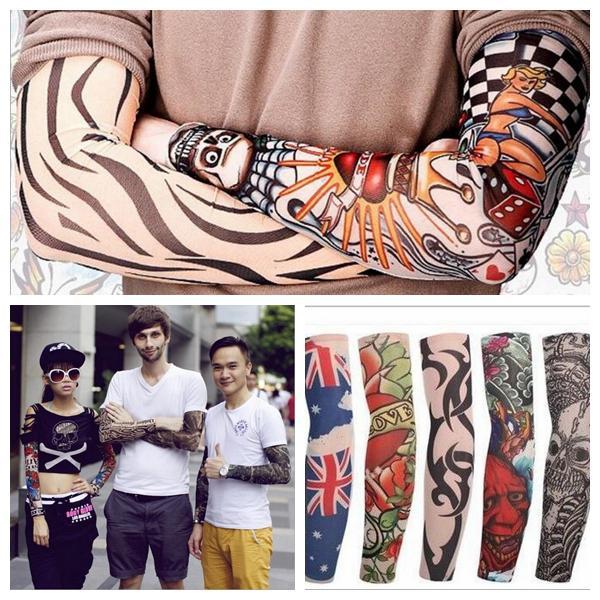 Mutylti sle polyester elastische gefälschte temporäre tätowierungshülse entwirft körper Armstrümpfe tattoo für coole männer frauen