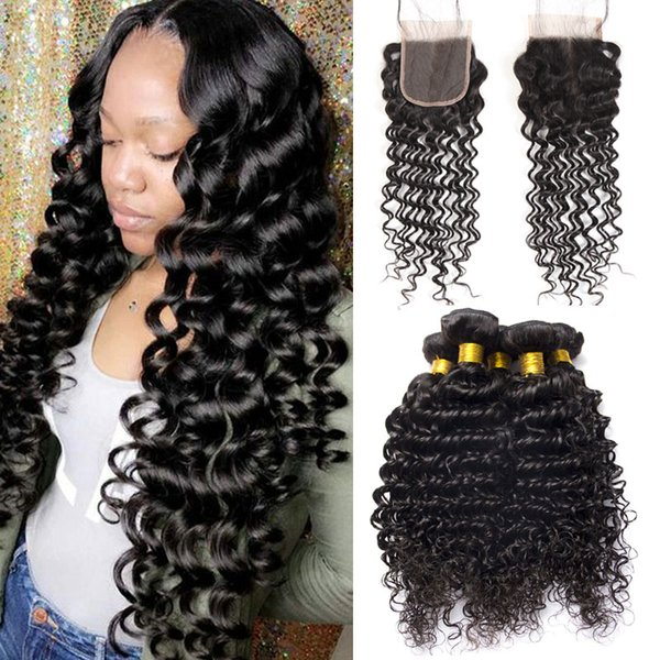 Malaysian Deep Wave Human Hair Bundles With Lace Closure Natural Black Soft And Good Quality Unprocessed 7a Virgin Hair Top Swiss Lace