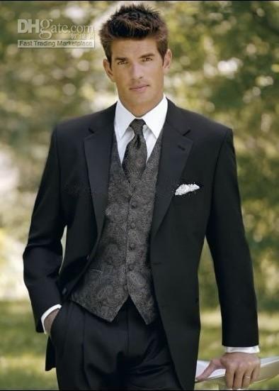 Groom Tuxedos Notch Lapel Wool Blend Groomsman Best Man Suits (Jacket+Pants+Tie+Vest) G624