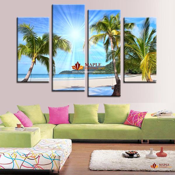 Vente chaude 4 Panneau Toile Mur Art SUNNY BEACH moderne Peintures Sur Toile Toile Images Pour Salon Peinture Pas Cher Toile Photo Art