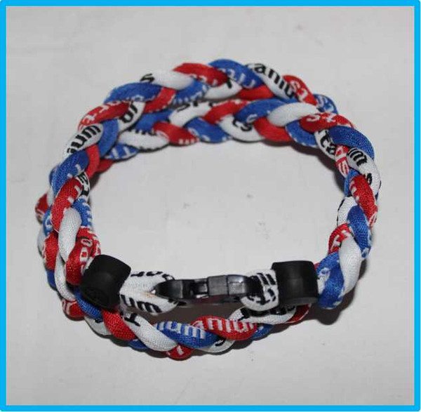 3 ropes tornado sports titanium necklace braided necklace bracelet Titanium Ionic Sports Baseball Necklace 16/18/20/22 inch