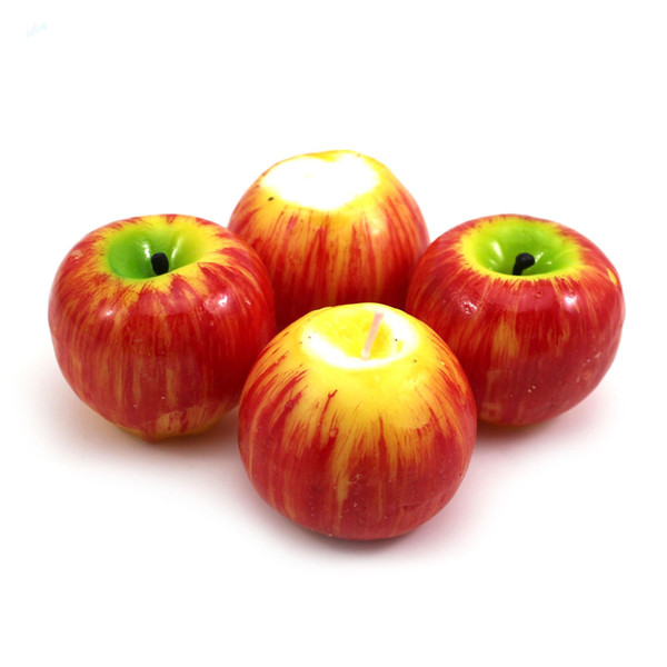 Christmas Red Apple Shape Fruit Scented Candle Home Decoration Greet Gift 4pcs/SET L025