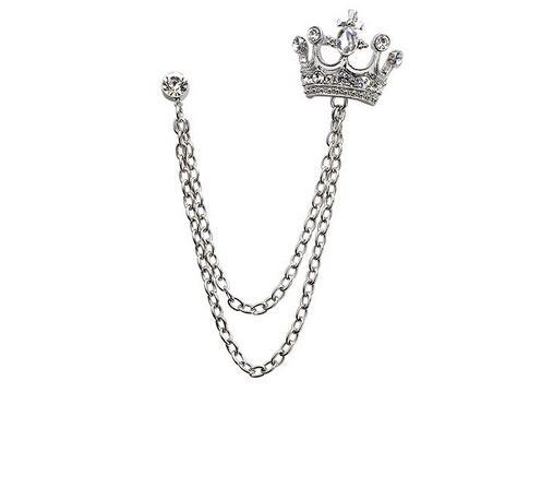 Wholesale-Korean Fashion Christmas Tassel Crown Crystal Rhinestone Vintage Men Silver Broche Lapel Brooch Pins for Women Jewelry