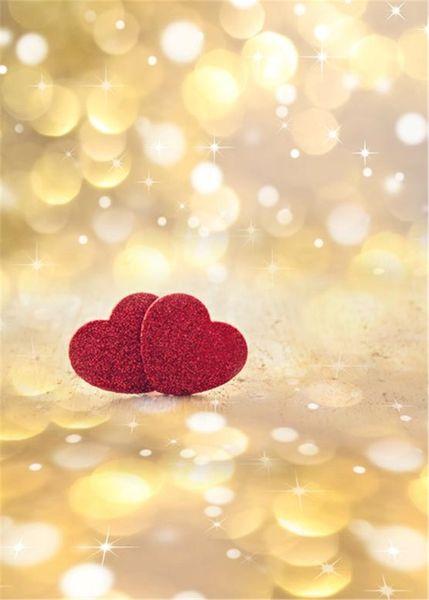 Oro Polka Dots Bokeh Fondali Fotografia Vinile Tessuto Brilla Red Love Hearts Matrimonio Romantico San Valentino Sfondo Studio Fotografico