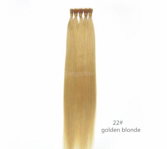 "Brazilian Straight Style Hair Bundles Indian Peruvian Malaysian Human Hair Extensions 15""-26"" 100s 22# Golden Blonde I-tip Hair"