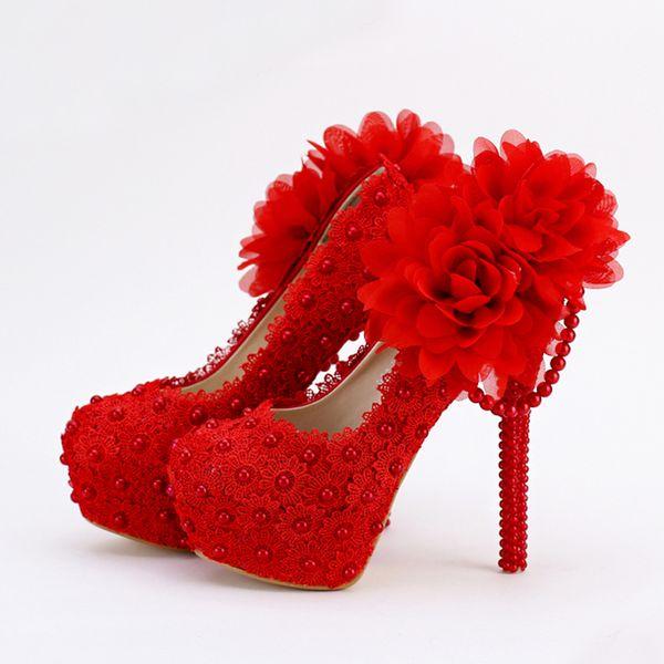 Red Lace Applique Evening Dress Shoes Sapatos Femininos Valentine Women High Heels Bridal Wedding Party Shoes Plus Size Wedding Shoes Nz Wedding Shop