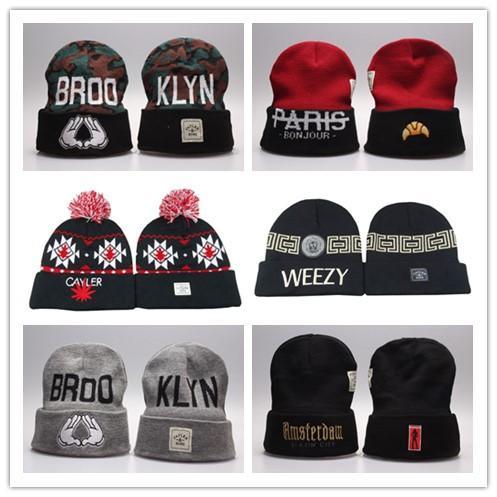 New hot sale inverno chapéu de lã moda casual cayler e filhos beanie para homens esportes hip hop mulheres cap crochê de malha de algodão chapéus dos homens