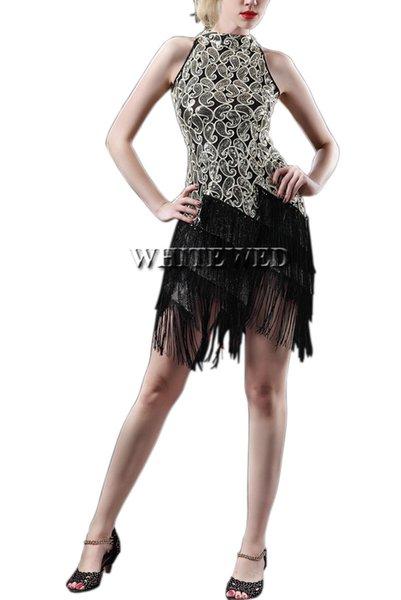 Al por mayor-Mujeres rugiendo 20 s 1920S Art Deco lentejuelas Paisley Gran Gatsby Aleta bailarina borla Glam Party Dress Costume Pattern Style