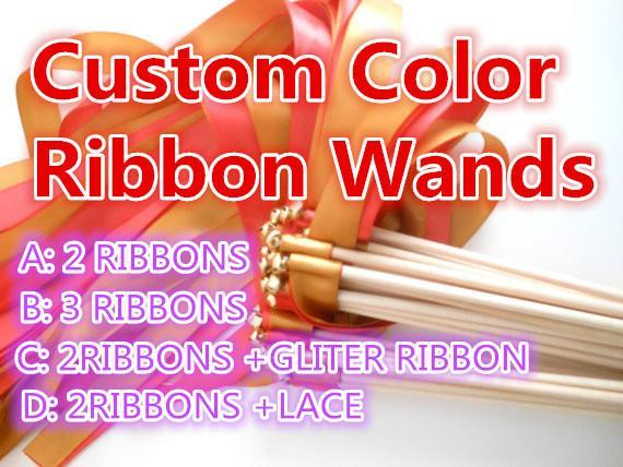 Wholesale-(50Pieces/Lot) Custom Colored Wedding Ribbon Wands Ribbon Stick With Bell
