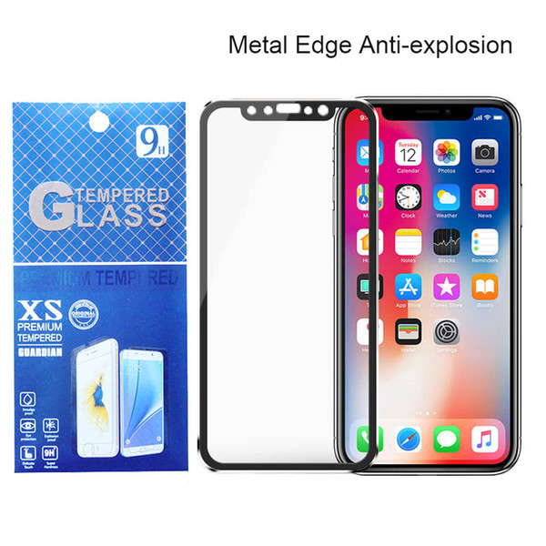 3D Curved Metal Edge Tempered Glass Screen Protector For iPhone X XS Max XR 8 7 6 6s Plus Titanium Alloy Toughened Film