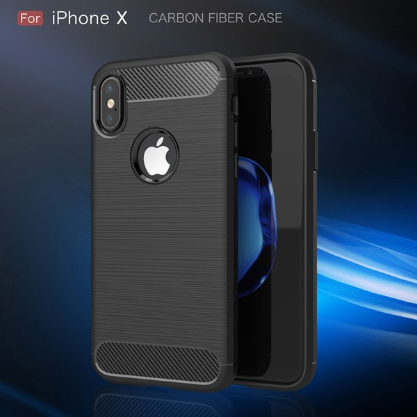 Carbon Fiber Case For iPhone X Xr Xs Max 6 6S 7 8 Plus 5 5S SE Brushed Silicone Soft Rubber Cover For Samsung S9 Plus S8 S7 edge S6 Note 9 8