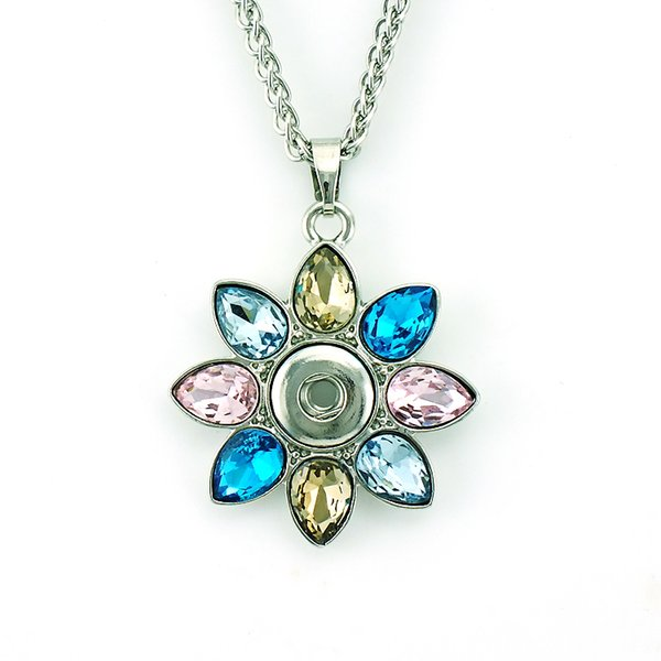 Fashion Pendants Necklace 4 Color Interchangeable 12mm Snap Button Plastic Crystal Flower Statement Necklace For Women Jewelry