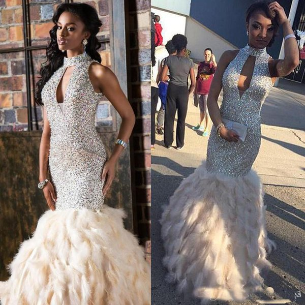 Luxury Feather Skirt High Neck African Mermaid Evening Dresses 2018 Sparkly Beads Floor Length Formal Prom Gown Cut-out Neck