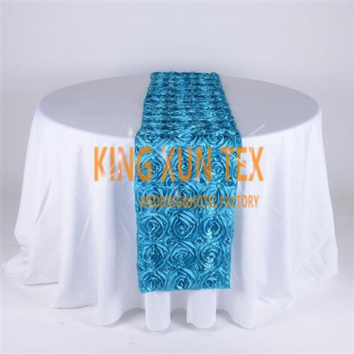 30PCS Lot Satin Rosette Table Runner Fit On Table Cloth For Wedding And Event Decoration Free Shipping