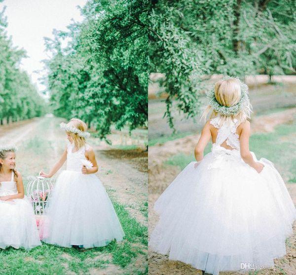 best selling New Lovely White Tulle Flower Girl Dresses Cross Straps Back Flowers Ball Gown Floor Length Girls Pageant Dresses Custom Made G31