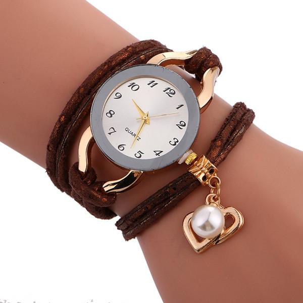 Bracelet de montre de bracelet de corde de la mode des femmes dames 2018 nouvelle armure perle amour pendentif robe montre de soirée à quartz