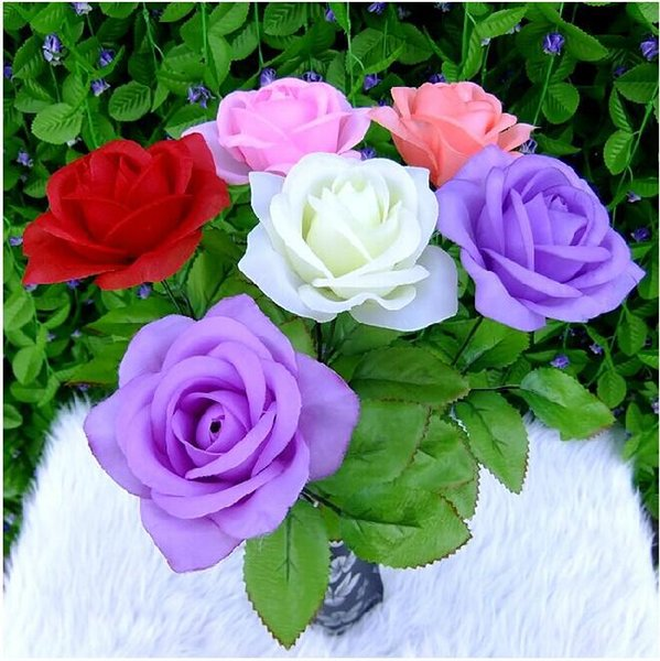 New Artificial Rose Silk Flower Beautiful Wedding Bouquet Home decor Christmas Ornament Shooting Prop Supplies 18 colors free shipping