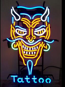 "Desiguall Skull Tattoo Neon Sign Custom Hand-crafted Real Glass Tube Store Shop Advvertisement Display Neon Signs 20""X24"""