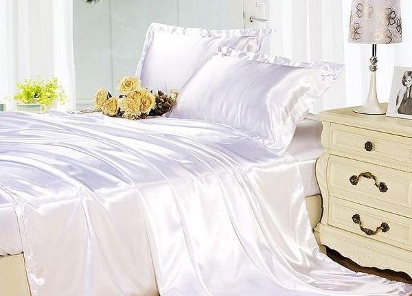 Acquista lenzuola di seta set di biancheria da letto bianco crema
