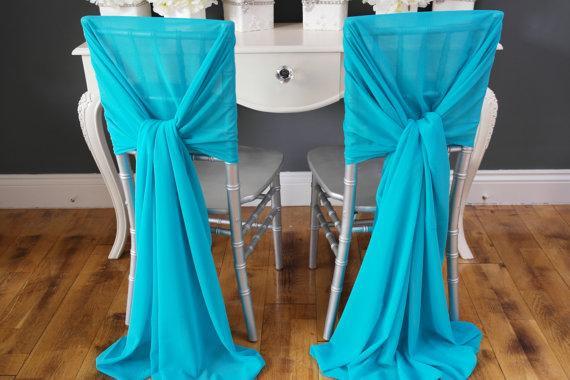 Nuovo Arrvail! 40pcs turchese telai della sedia per la cerimonia nuziale del partito di evento della decorazione della festa di evento di nozze Chiffon