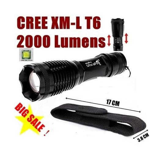best selling 2000 Lumen Zoomable CREE XM-L T6 LED Flashlight Torch Zoom Lamp Light+Holster for 18650 battery +Holster(E6 black)