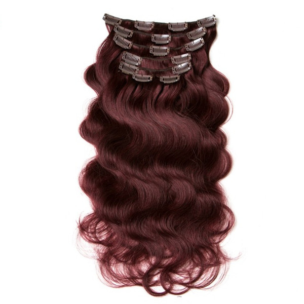 "ELIBESS HAIR-Brazilian Body Wave 7pcs/set 70g Clip In Hair Extensions 14""16''18""20""22""24"" Non-Remy Hair 99j Burgundy Human Hair"
