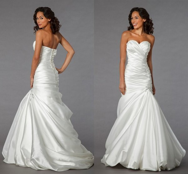 2014 Simple Design Satin Bridal Dresses Cheap Sweetheart Ruched Mermaid Satin Floor Length Lace Up pnina tornai wedding dress Country Style